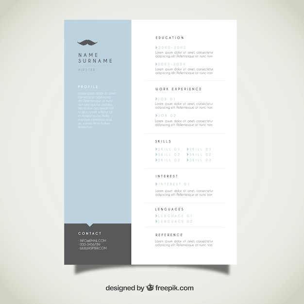 Modern Resume Template Vector Free Download - modern resume templates