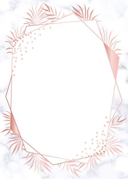 Modern rose gold geometric wedding invitation background Vector