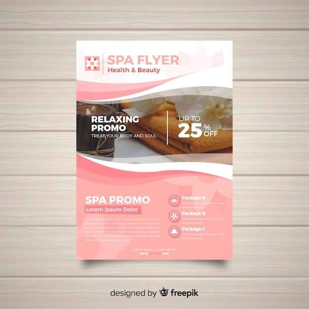 Modern spa flyer template with photo Vector Free Download