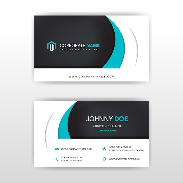 Modern vector double sided business card design Vector Free Download