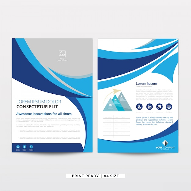 Modern wavy curved brochure template Vector Free Download