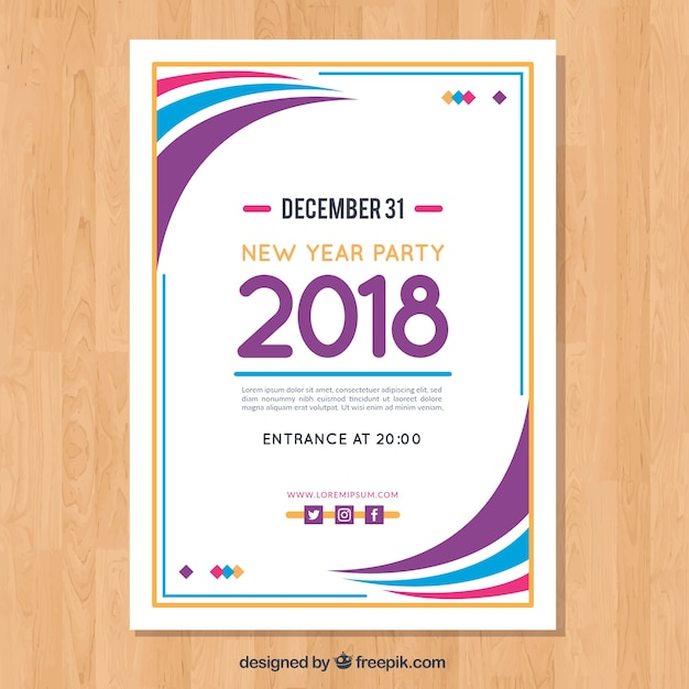 Modern wavy poster template for new year party Vector Free Download - new year poster template