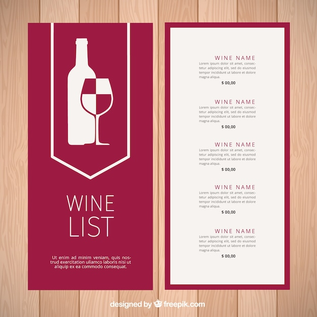 Modern wine list template Vector Free Download