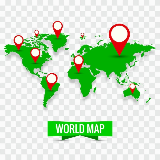 Modern world map with pins Vector Free Download