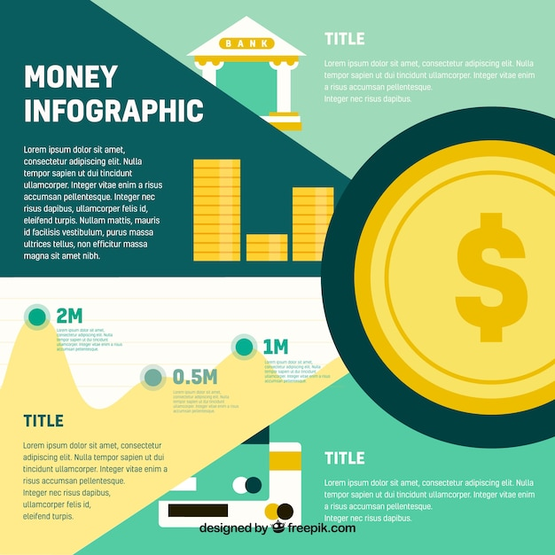 Money infographic template in flat design Vector Free Download - money template