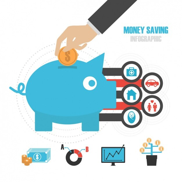 Money savings inphographic template Vector Free Download