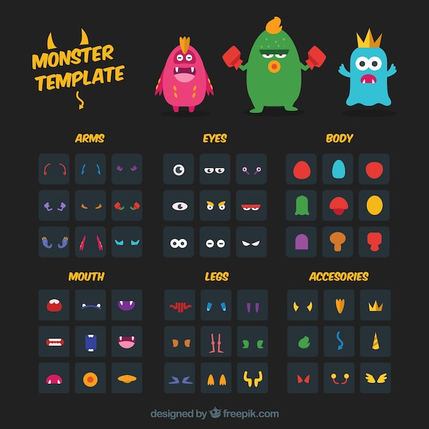 Monster character template Vector Free Download - Monster Template