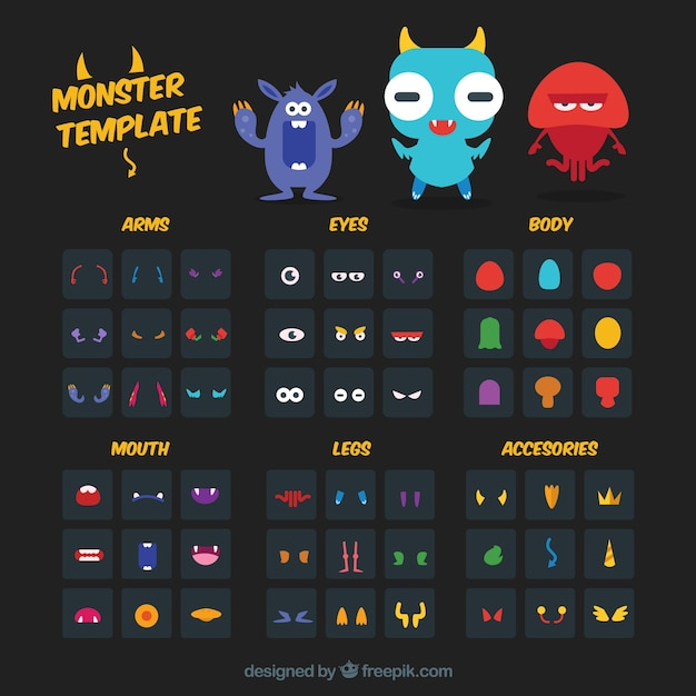 Monster template kit Vector Free Download - Monster Template