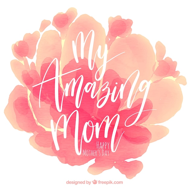 Mother\u0027s day background with watercolor stains in pink tones Vector - mother's day