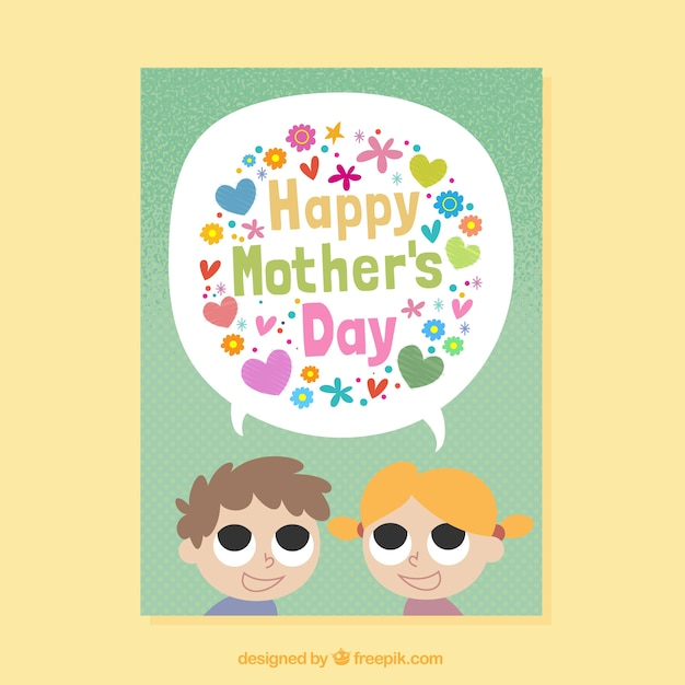 Mother\u0027s day card template with kids and colored flowers Vector
