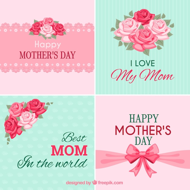 Mothers day cards collection Vector Free Download - mother s day cards