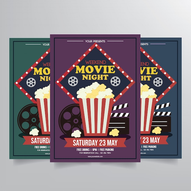 Movie night flyer template vector Vector Premium Download