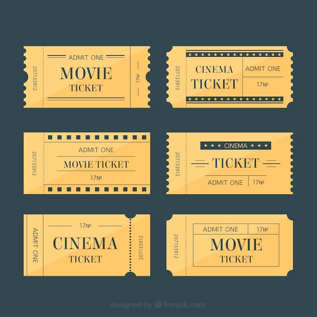 Movie tickets in retro style Vector Free Download