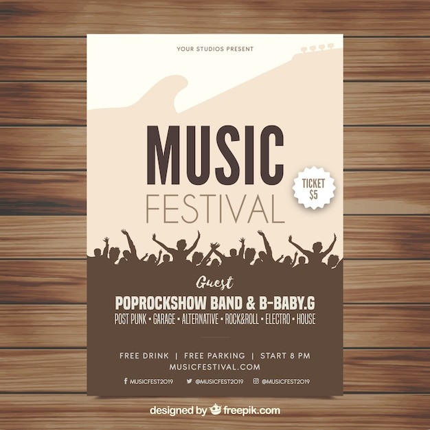 Music festival flyer in flat design Vector Free Download