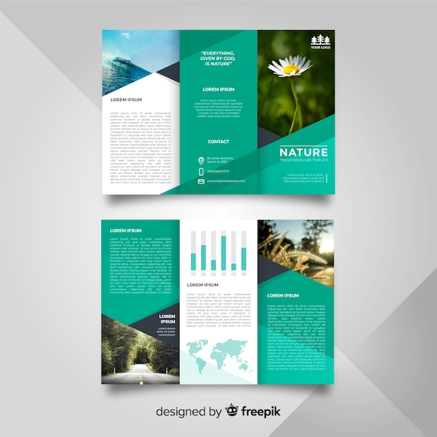 Nature trifold flyer template Vector Free Download