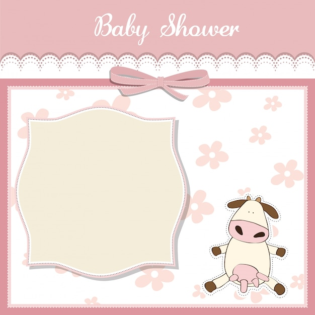 New baby girl announcement card with cow Vector Premium Download