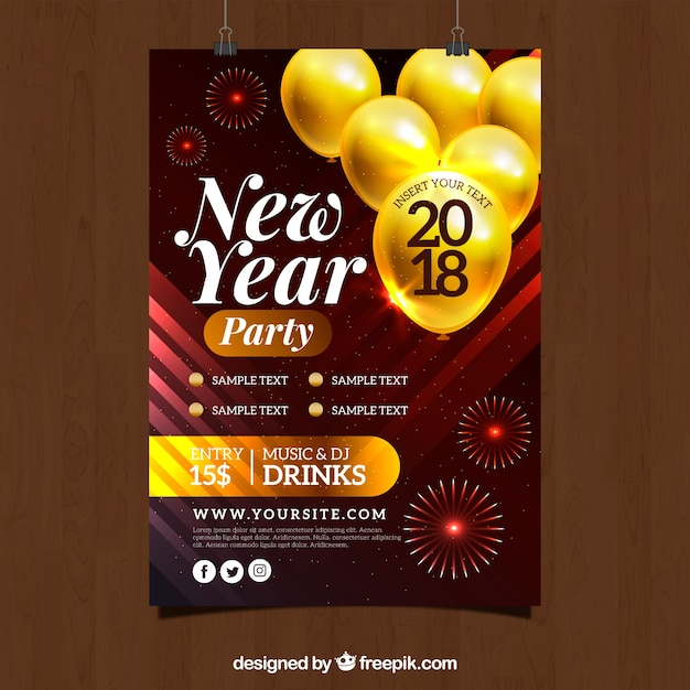 New year party flyer template with yellow balloons Vector Free