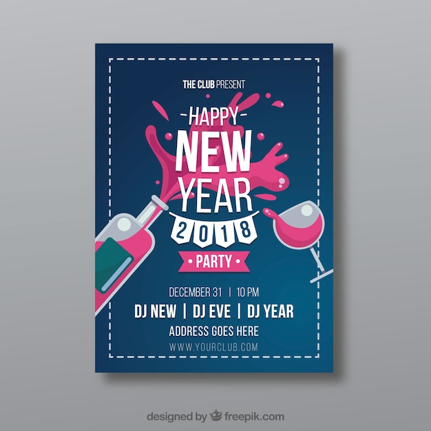 New year party poster template with drinks Vector Free Download - new year poster template