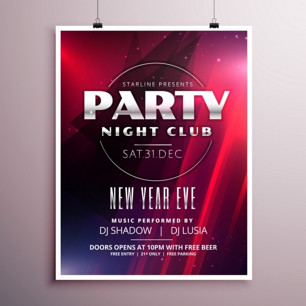 New year\u0027s eve party poster template Vector Free Download