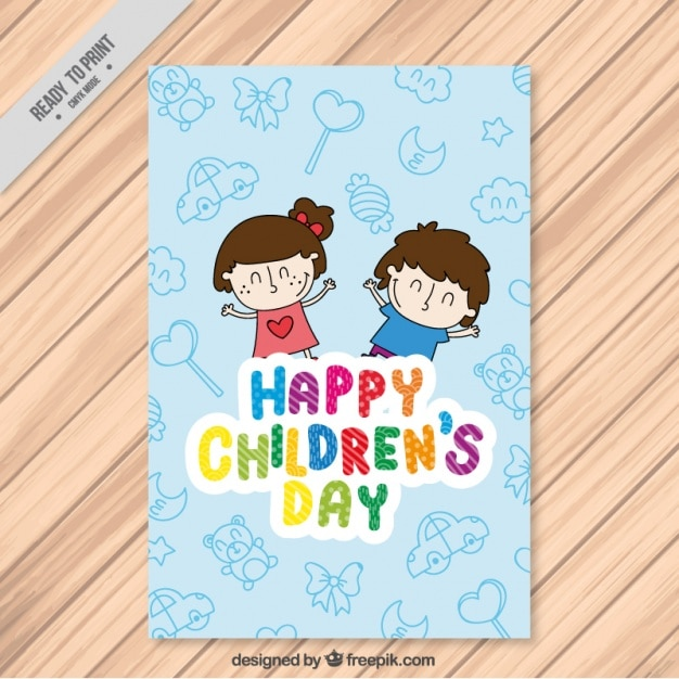 Nice greeting card of children\u0027s day with happy kids Vector Free