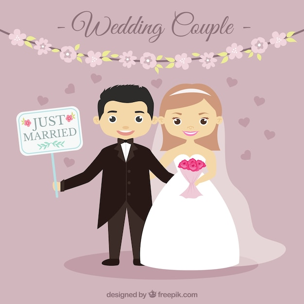 Cute Indian Married Couple Wallpaper Nice Wedding Couple With A Sign Vector Free Download
