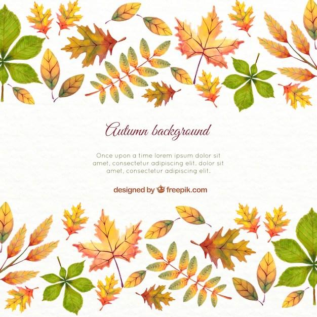 Fall Leaves Fox Wallpaper 水彩秋には、背景とテンプレートを残します ベクター画像 無料ダウンロード