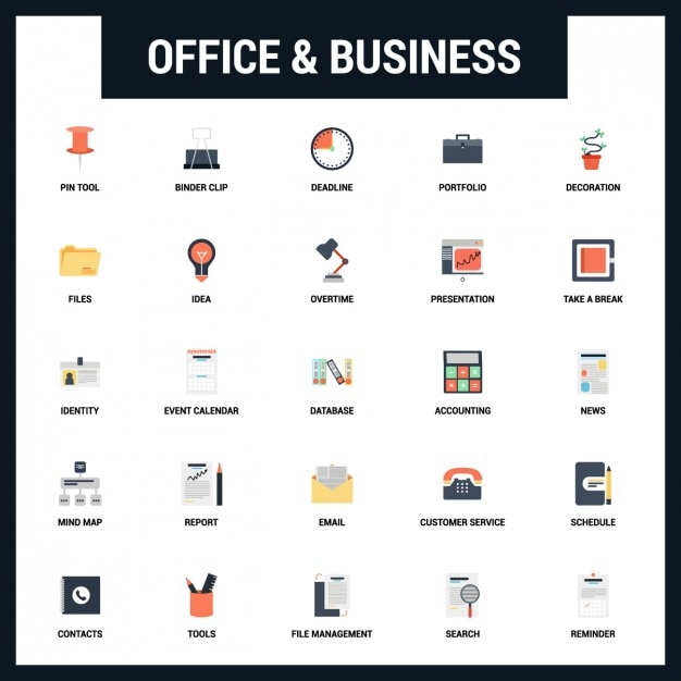 Working Days In 2016 Calendar 12 Office And Business Icons Set Vector Free Download