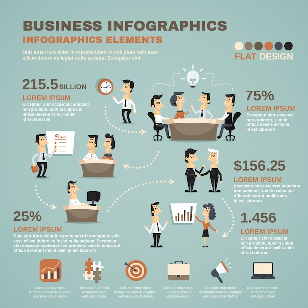 Office work infographics presentation poster Vector Free Download