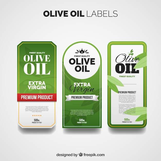 Olive oil labels with different designs Vector Free Download