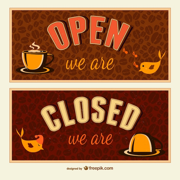 Open and closed signs Vector Free Download