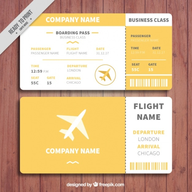 Orange and white boarding pass template Vector Free Download - airplane ticket template