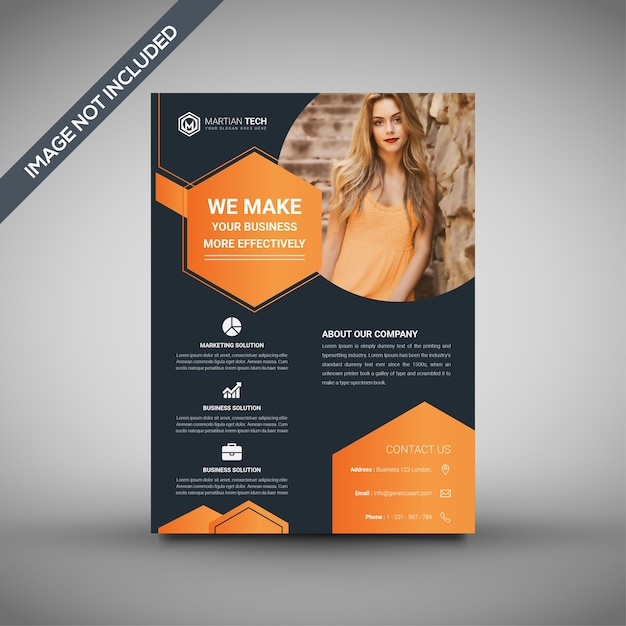 Orange and black flyer template, professional flyer template Vector
