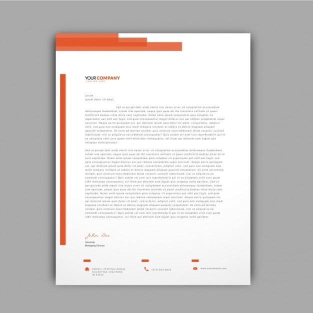 Orange details letterhead template Vector Free Download - psd letterhead template