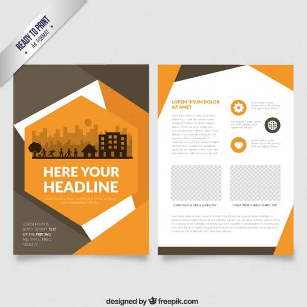 Orange flyer in abstract style Vector Free Download