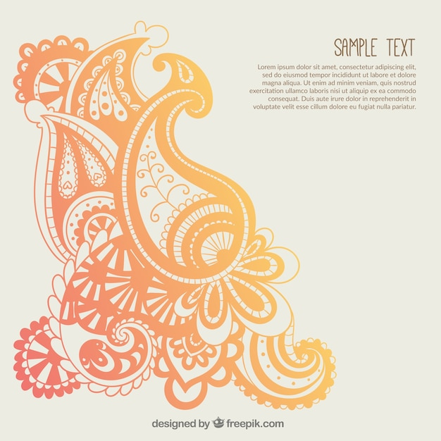 Orange paisley ornaments template Vector Free Download
