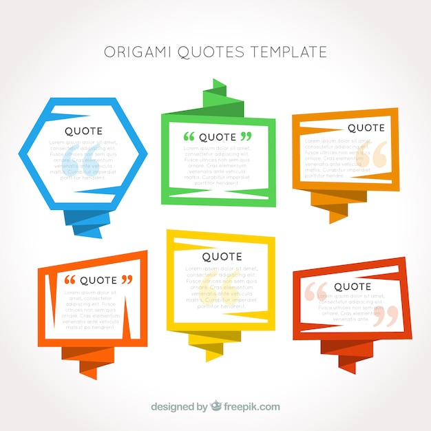 Origami frames quotes template Vector Free Download - how to create a quotation template