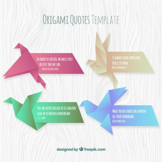 Origami quotes template set Vector Free Download - quotation design template