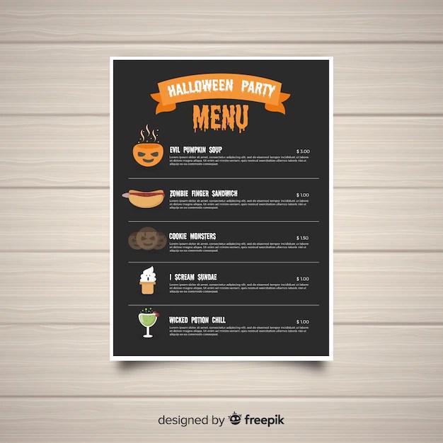 Original halloween menu template with flat design Vector Free Download