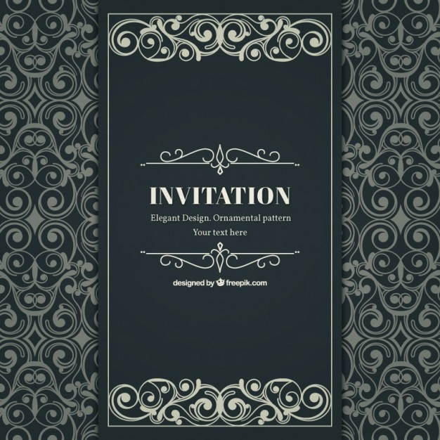Ornamental and elegant invitation in victorian style Vector Free