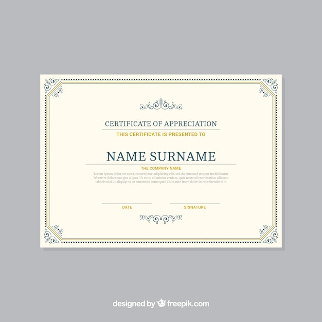 Ornamental certificate border template Vector Free Download