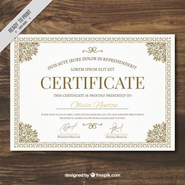 Ornamental certificate template Vector Free Download - Free Professional Certificate Templates
