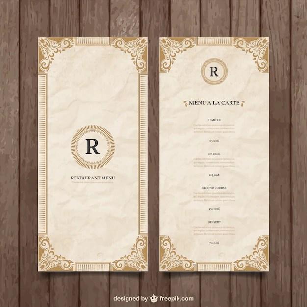Ornamental menu template Vector Free Download
