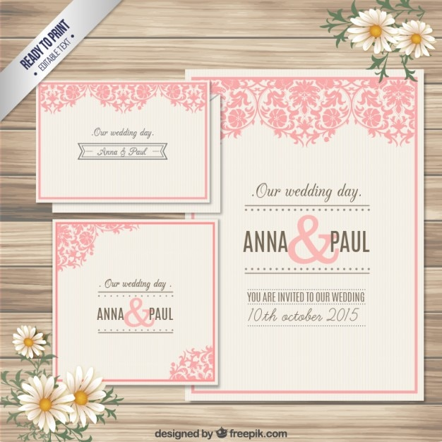 Ornamental wedding invitation card Vector Free Download - create invitation card free download