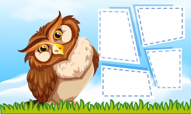 Owl on note template Vector Free Download