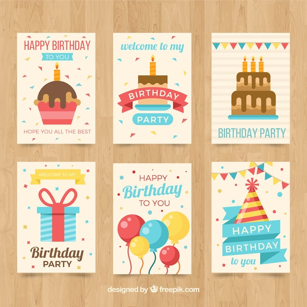 Pack of birthday cards in flat design Vector Free Download