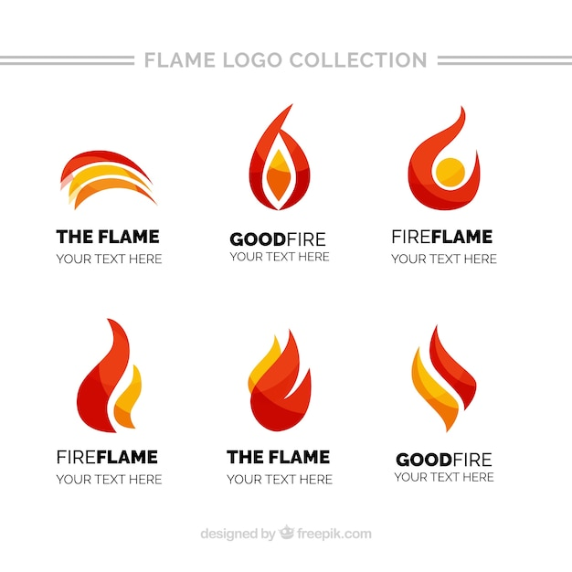 Pack of flame logos with different colors Vector Free Download - flame logo