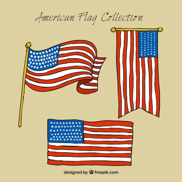 Pack of three hand-drawn american flags Vector Free Download