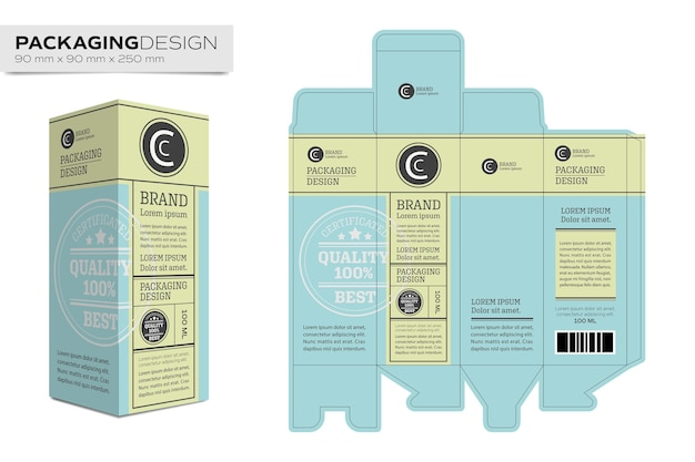 Packaging design template box layout for cosmetic product Vector