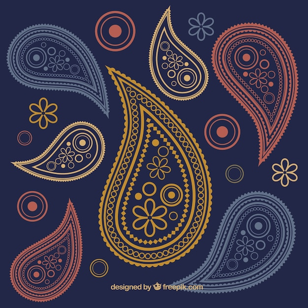 Paisley ornaments background Vector Free Download