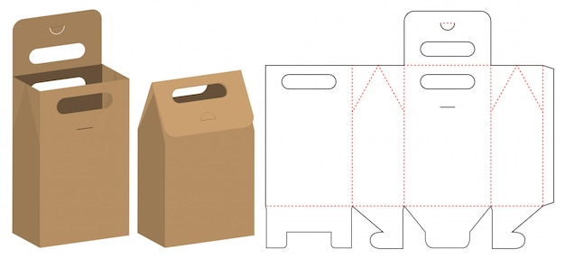 Paper bag packaging die cut template design Vector Premium Download